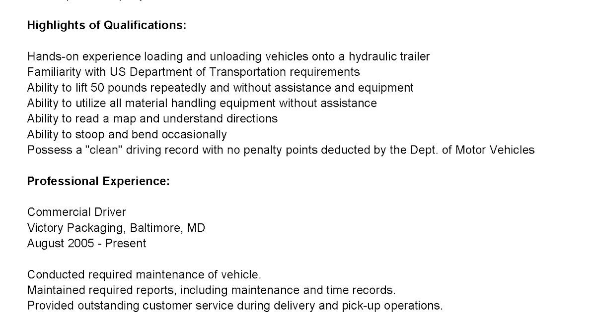 driver resumes commercial driver resume sample