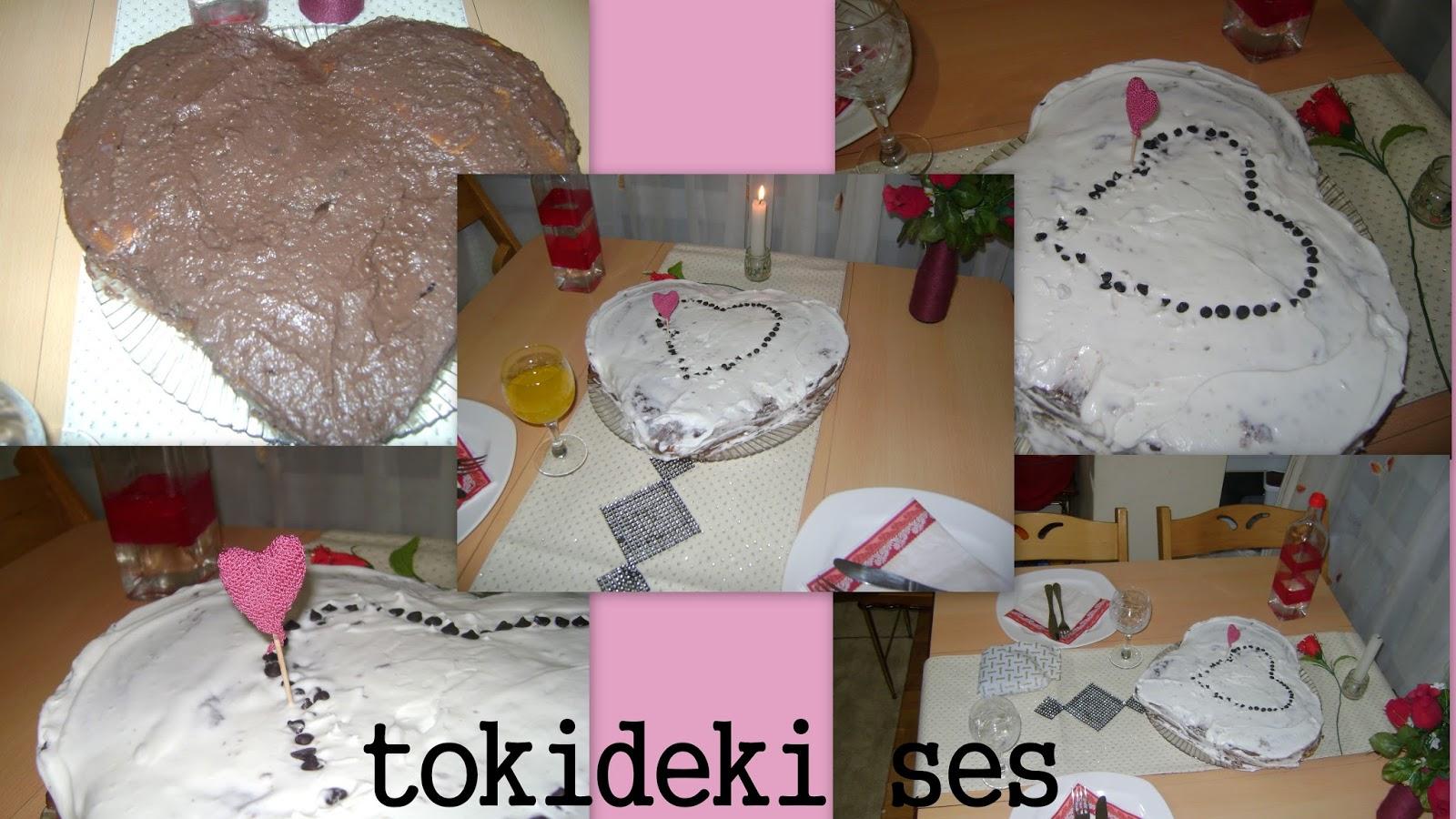 tokideki sesin sevgililer günü kutlaması,SEVGİLİLER GÜNÜ, özel gün, pasta, YAŞ PASTA, güzel masa, masa süslemesi, kalp, aile,