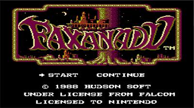 Ecran titre de Faxanadu sur nes