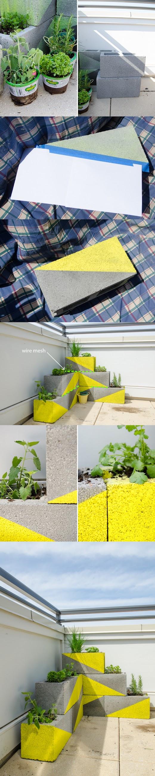 How to peque a jardinera con bloques de hormig n - Jardinera hormigon ...