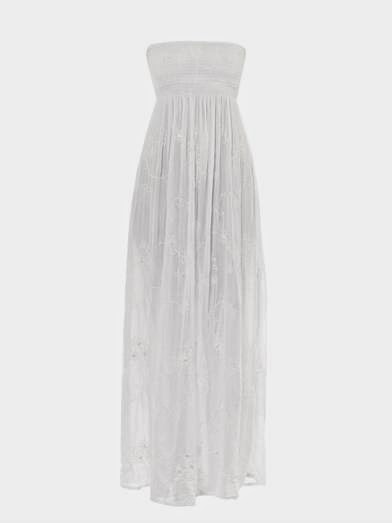 Embroidered Maxi Dress: Affordable Wedding Dresses - Strapless