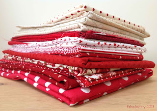 Red and Cream / White Fabrics for Nearly Insane Quilt