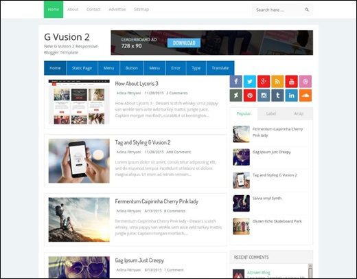 G Vusion 2 Blogger Template Best Blogger Themes Professional