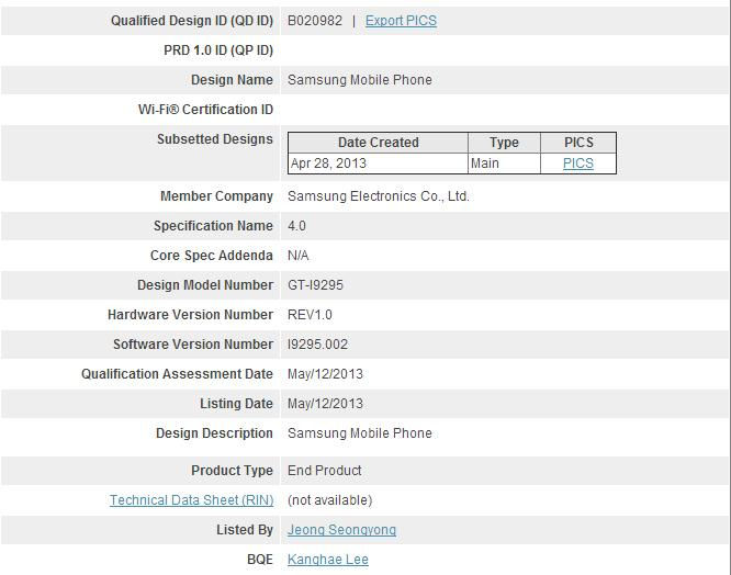 Samsung Galaxy S4 Active Bluetooth Certification