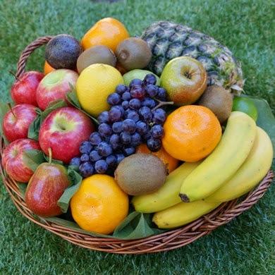 Fruit Hamper in real wicker basket for delivery