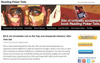 """Brachte mich darauf, das Buch zum legendären Pokerduell zu kaufen: Zachary Elwood, der """"Reading Poker Tells"""" geschrieben hat. Seine Internetseite ist ebenfalls lesens- und empfehlenswert. Screenshot: Nico Lindner"""
