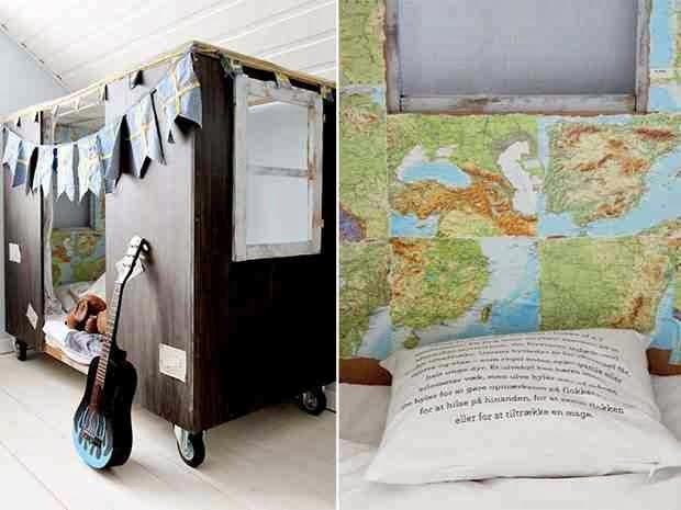 Meble z recyklingu, dekoracje i dodatki z recyklingu, łóżko na kółkach,