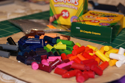 Broken crayons all set for melting!