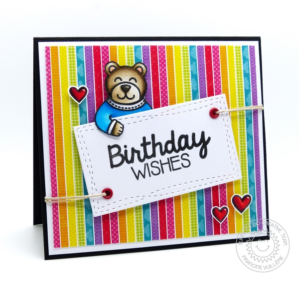 Sunny Studio Stamps Teddy Bear Birthday Card by Francine Vuillème (using Sending My Love & Birthday Smiles stamp sets)