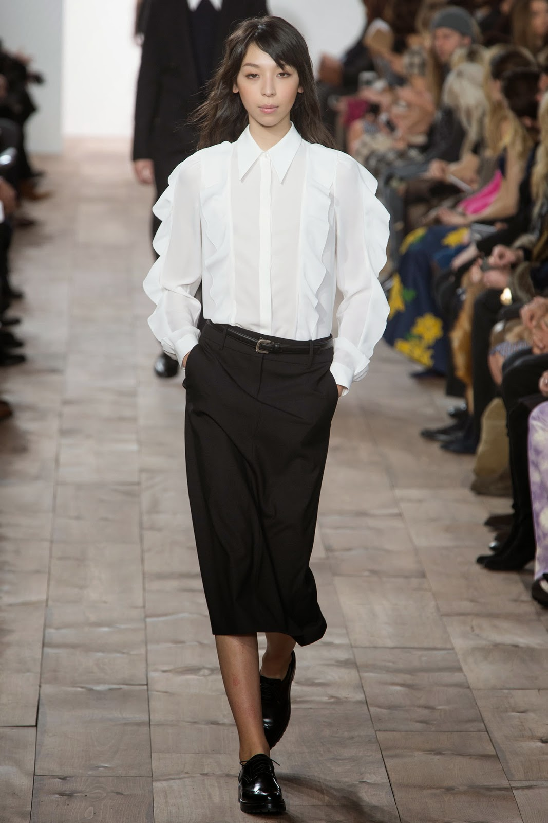 Michael Kors FW15/16 - white shirt with ruffles, black skirt