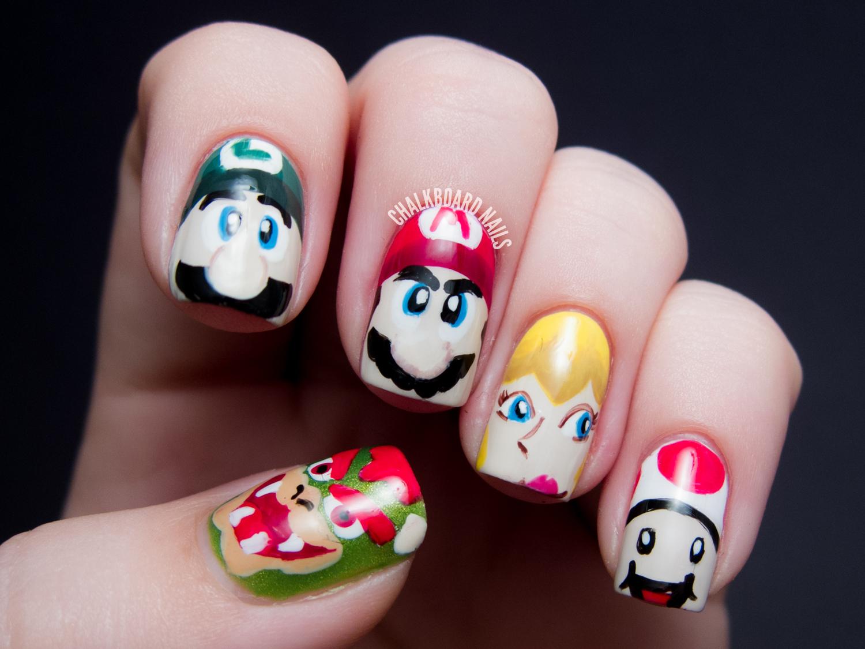 Mamma Mia!: Mario Character Nail Art | Chalkboard Nails | Nail Art Blog