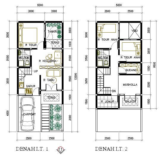 sketsa denah rumah 2 lantai type 21 36 45 54 70 minimalis