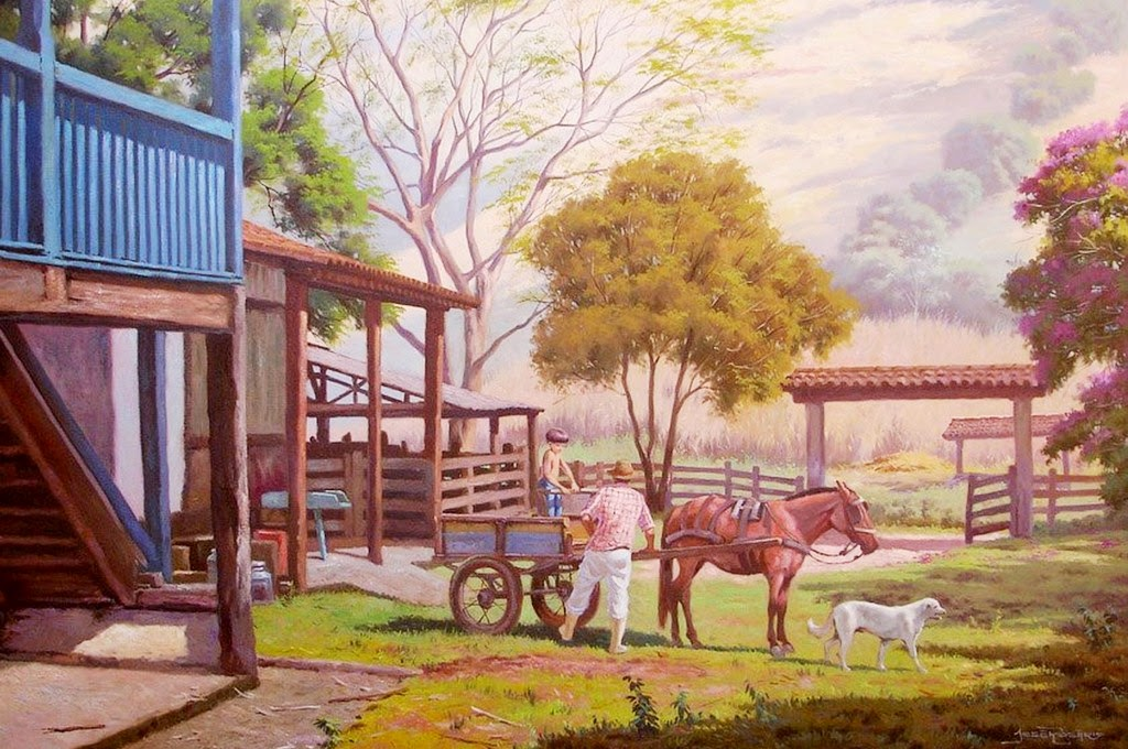 casas-de-pueblos-colombianos-pintadas-al-oleo