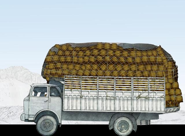 mil garrafas, camion, empaquetado, dibujo
