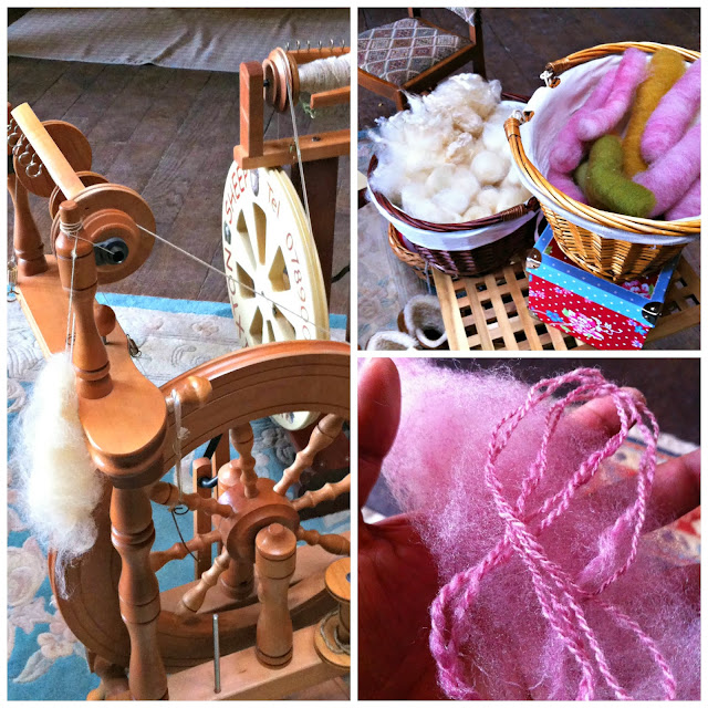 Spinning wheel and beautiful wool at the Pretty Nostalgic Gathering