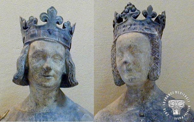PARIS (75) - Musée du Louvre : Statues de Charles V et de Jeanne de Bourbon (XIVe siècle)