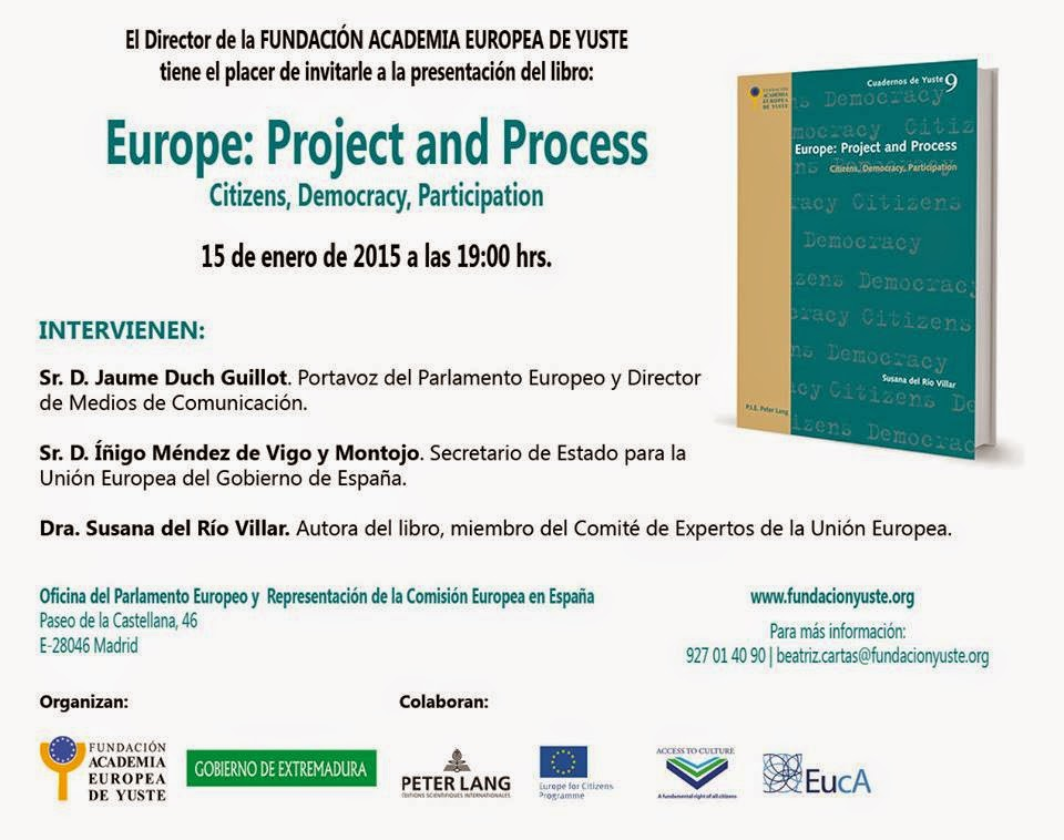 "Presentación en Madrid del Libro ""Europe: Project and Process"" de Susana del Rio"