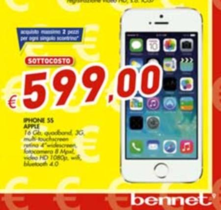 Da Bennet l'ultimo iPhone 5S 16 GB a prezzo sottocosto