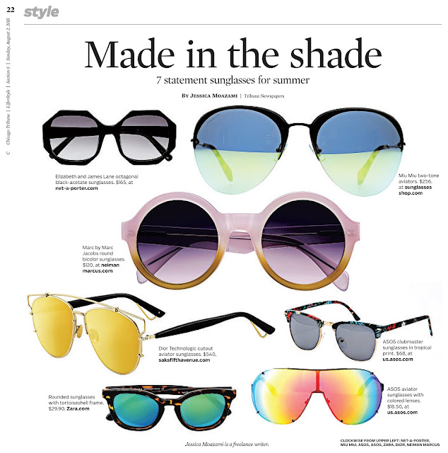 7 statement sunglasses in the Chicago Tribune by Jessica Moazami