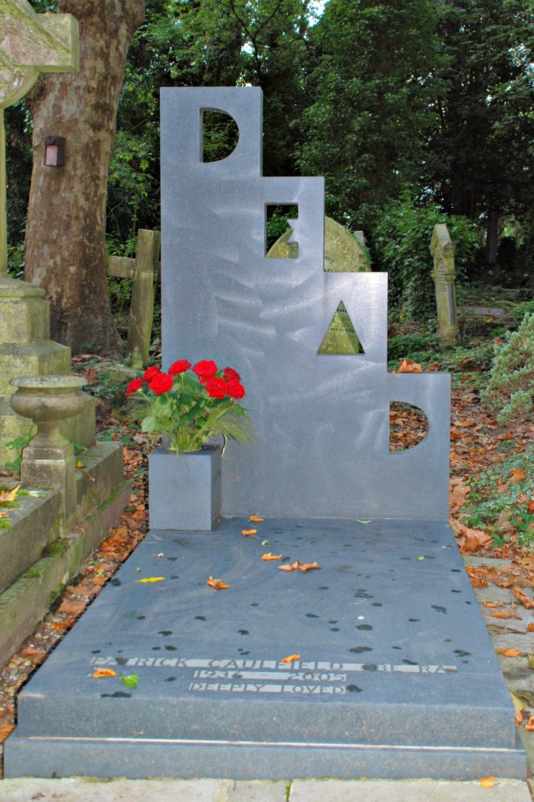 Patrick Caulfield's memorial, Highgate Cemetery, London
