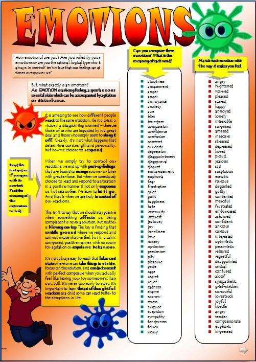 Express your feelings worksheets http englishstuffesl blogspot com