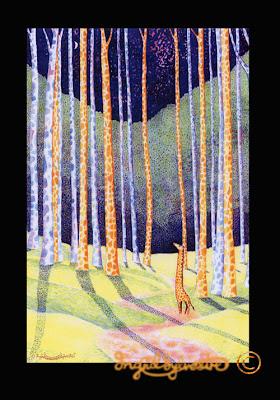 Giraffe Quest watercolour painting by giraffe artist Ingrid Sylvestre UK artist illustrator and author
