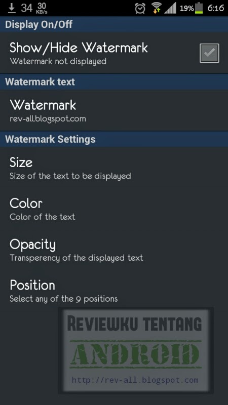 Pengaturan Phone Secure Watermark - aplikasi watermark perangkat Android (rev-all.blogspot.com)