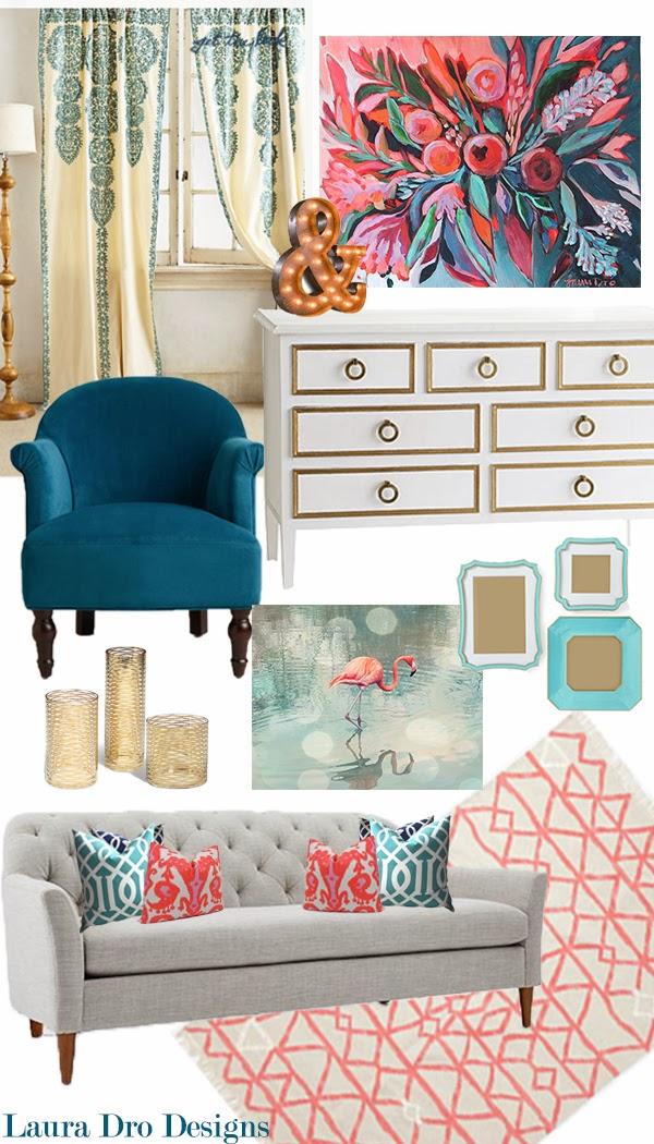 Laura dro living room design indigo aqua coral gold for Coral living room ideas