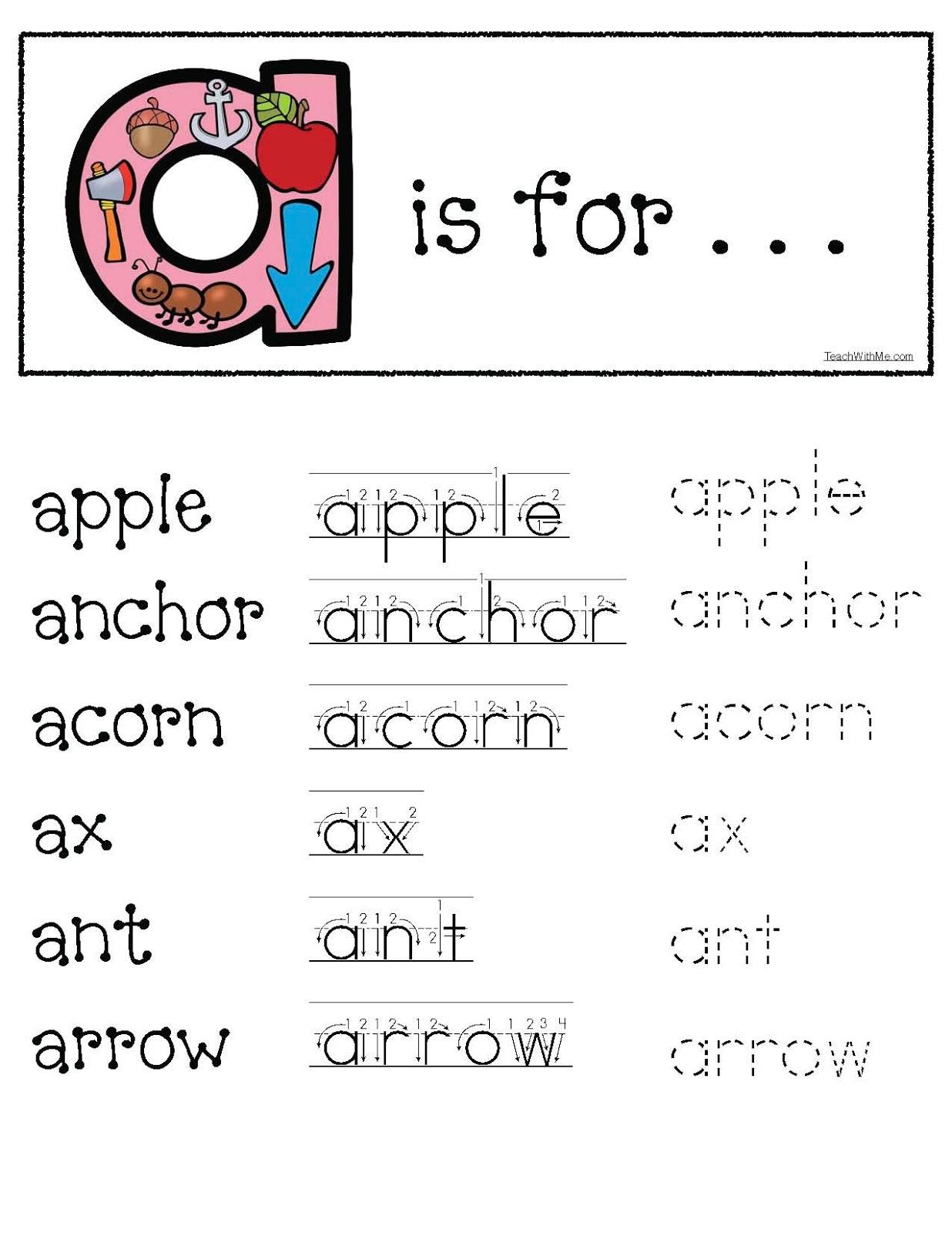 "Beginning Sound Worksheet - Letter ""Aa"" Practice by Kinder ..."