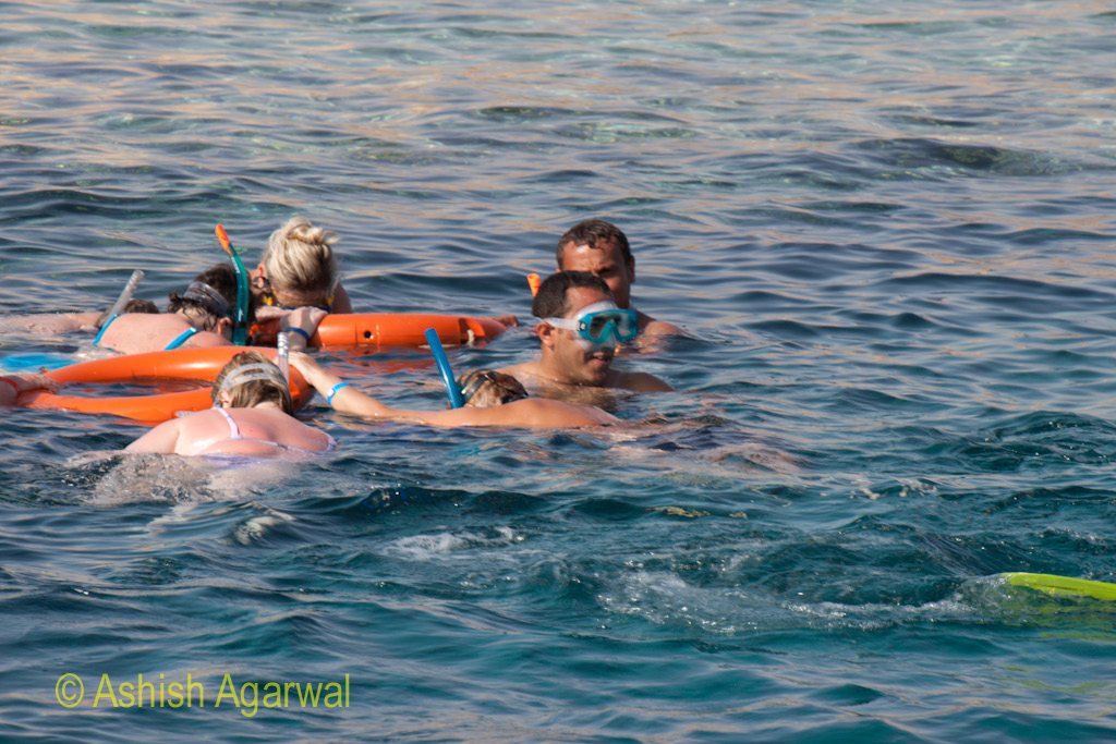 Clutching to rubber tubes while snorkeling in the Red Sea near Sharm el Sheikh