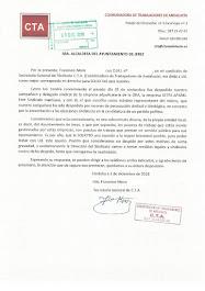 Francisco Moro, Secretario General de la Coordinadora de Trabajadores de Andalucía (CTA), solicita