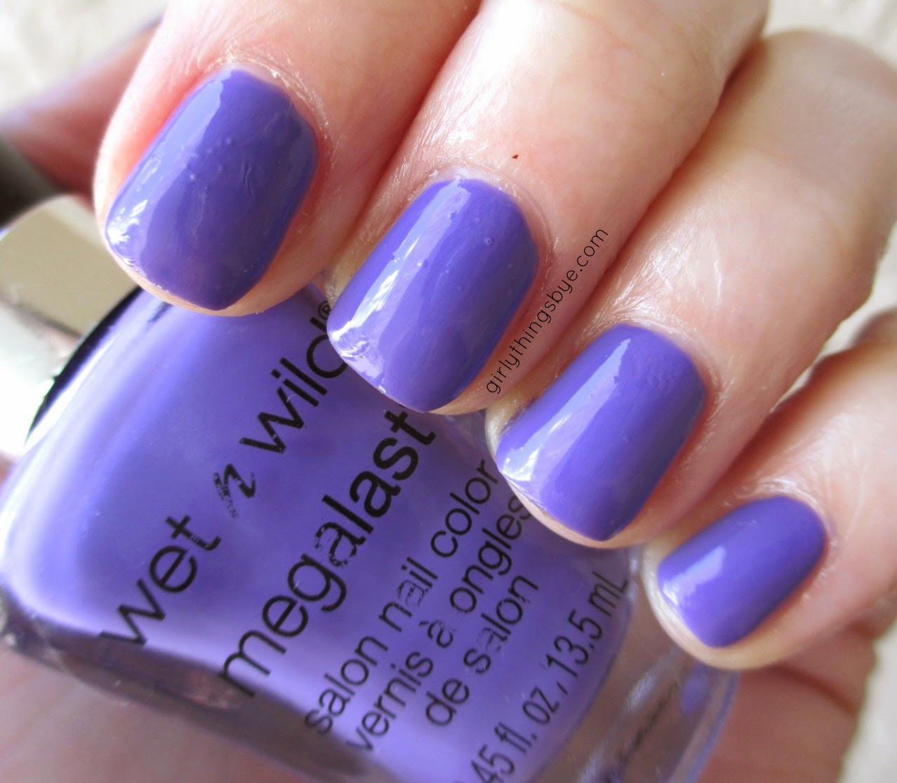 Wet n' Wild On a Trip, nail polish swatch, #radiantorchid, @girlythingsby_e