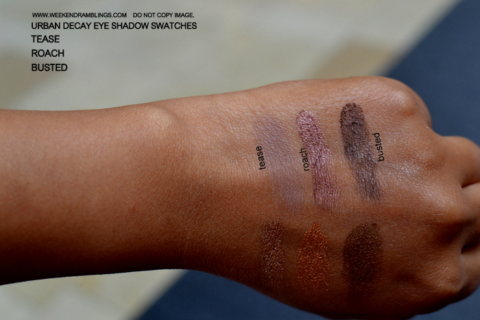 Urban Decay Makeup Eyeshadow Indian Beauty Blog Swatches FOTD Brown Beige Roach Tease Busted
