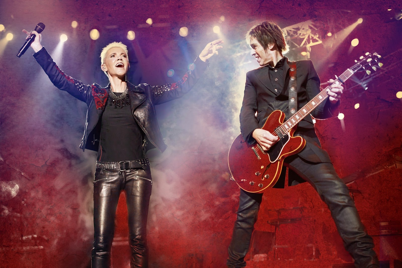 Roxette is a Swedish pop rock duo, consisting of Marie Fredriksson (vocals) and Per Gessle (vocals and guitar).http://www.jinglejanglejungle.net/2015/02/eu3.html #Roxette