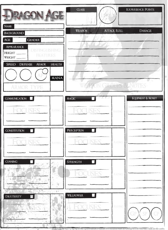 dragon age online character pdf