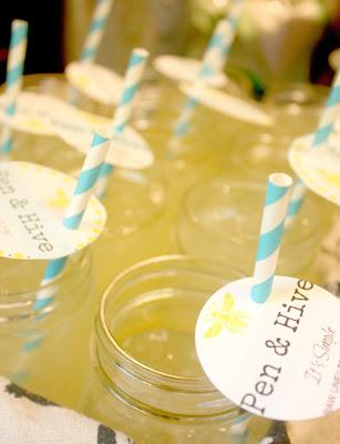 mason jars with lemonade paper straws