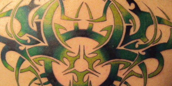 Tribal BioHazard back Piece Tattoos