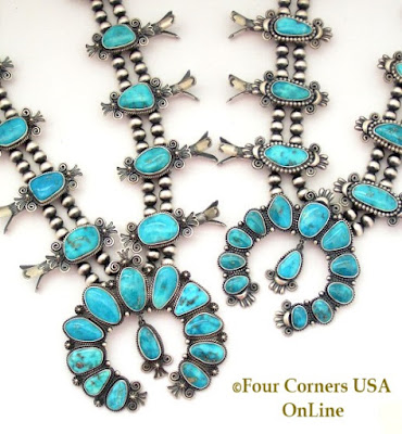 Morenci Turquoise Squash Blossom Necklaces Four Corners USA OnLine Native American Jewelry