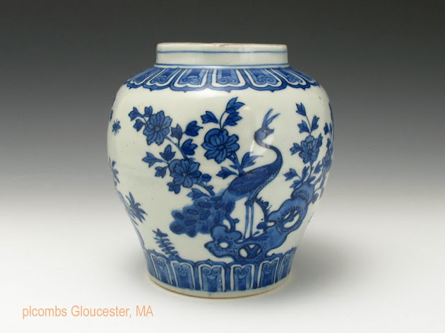 "<img src=""Chinese Ming Jiajing jar .jpg"" alt=""blue and white with Peacock"">"