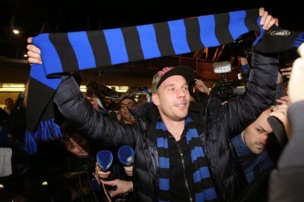 Podolski Tiba Di Itali Untuk Sertai Inter Milan, info, terkini, berita sukan, bola sepak, Lukas Podolski, arsenal, AC Milan