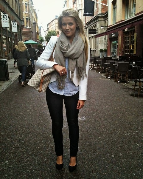 Grey shawl, white sweater, black pants and nudes street style combination