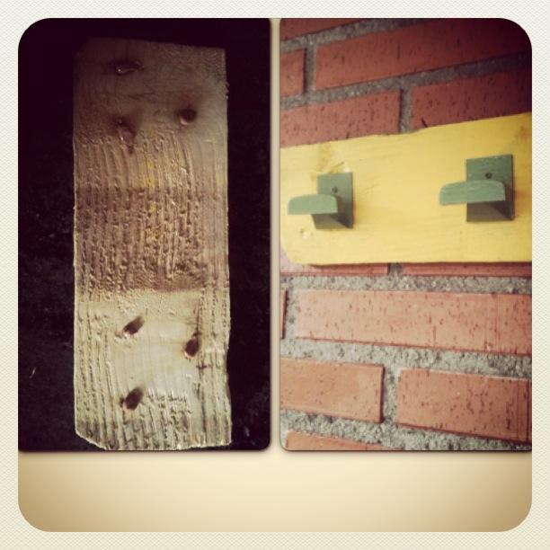 Manualidades y bricolaje con percha reciclada con palets