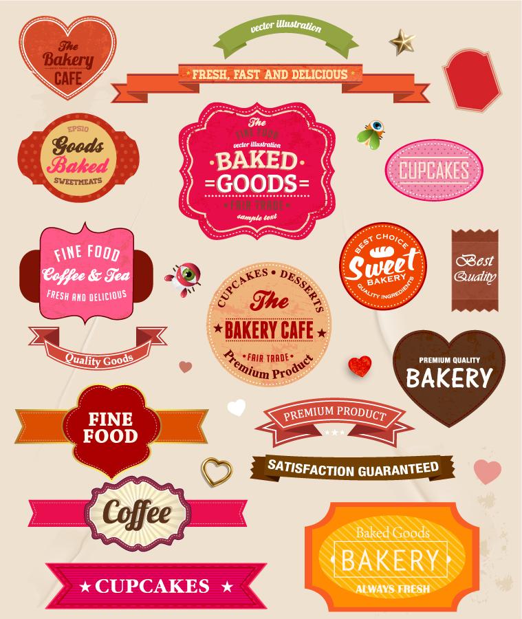 食品ラベル デザイン見本 Food paper labels set イラスト素材