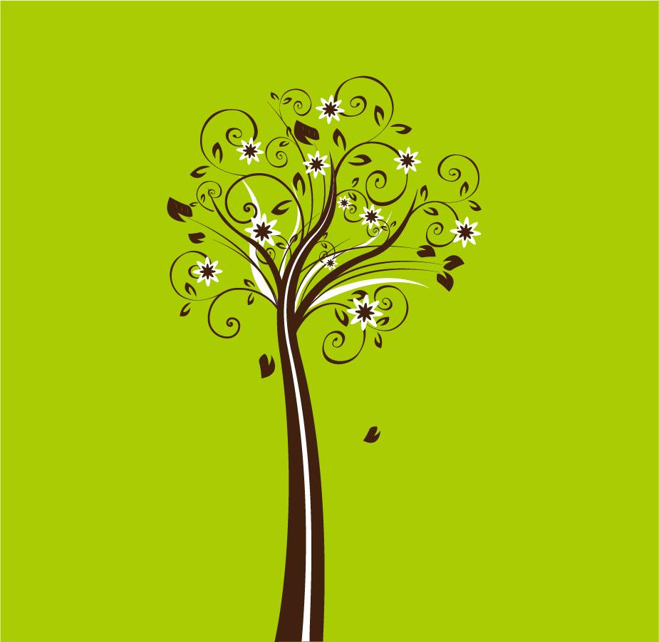 爽やかな樹のイラスト Vector Floral Tree イラスト素材