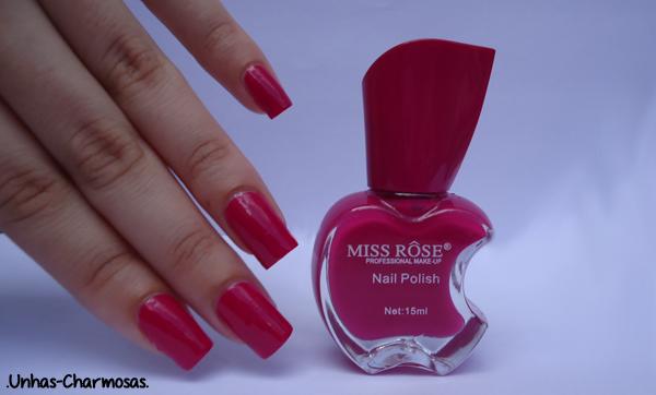 Esmalte de Maçãzinha mordida, esmalte maçã Miss Rôse 017, 017, esmalte Miss Rôse, esmalte com vidrinho de maçã mordida, esmalte, esmaltes com vidrinhos diferentes