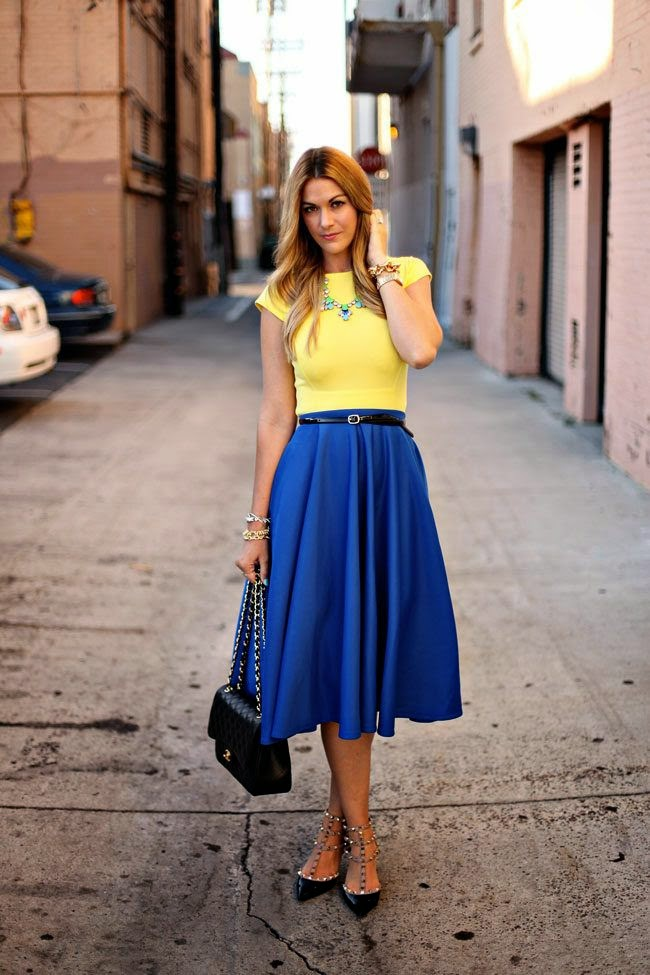 Royal Blue Pleated Maxi Long Skirt Top Yellow Short Sleeved The Best Street Style Outfits