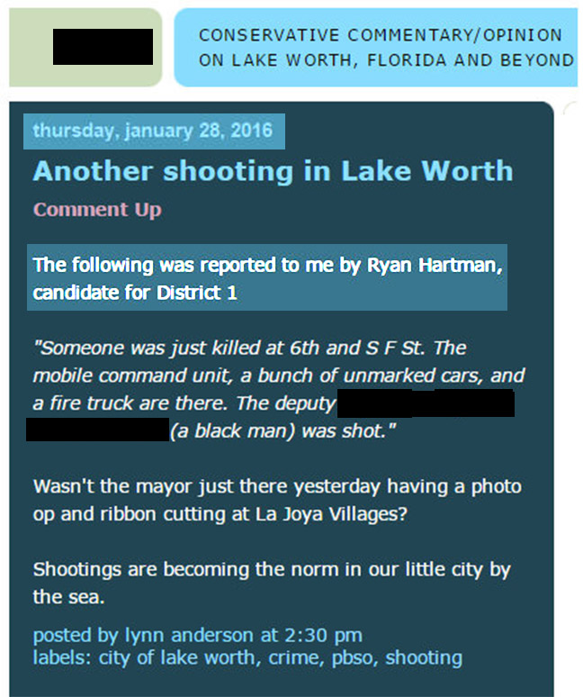 """The following was re- ported to me by Ryan Hartman. . ."" Click on ""Alt"" (fake) report:"