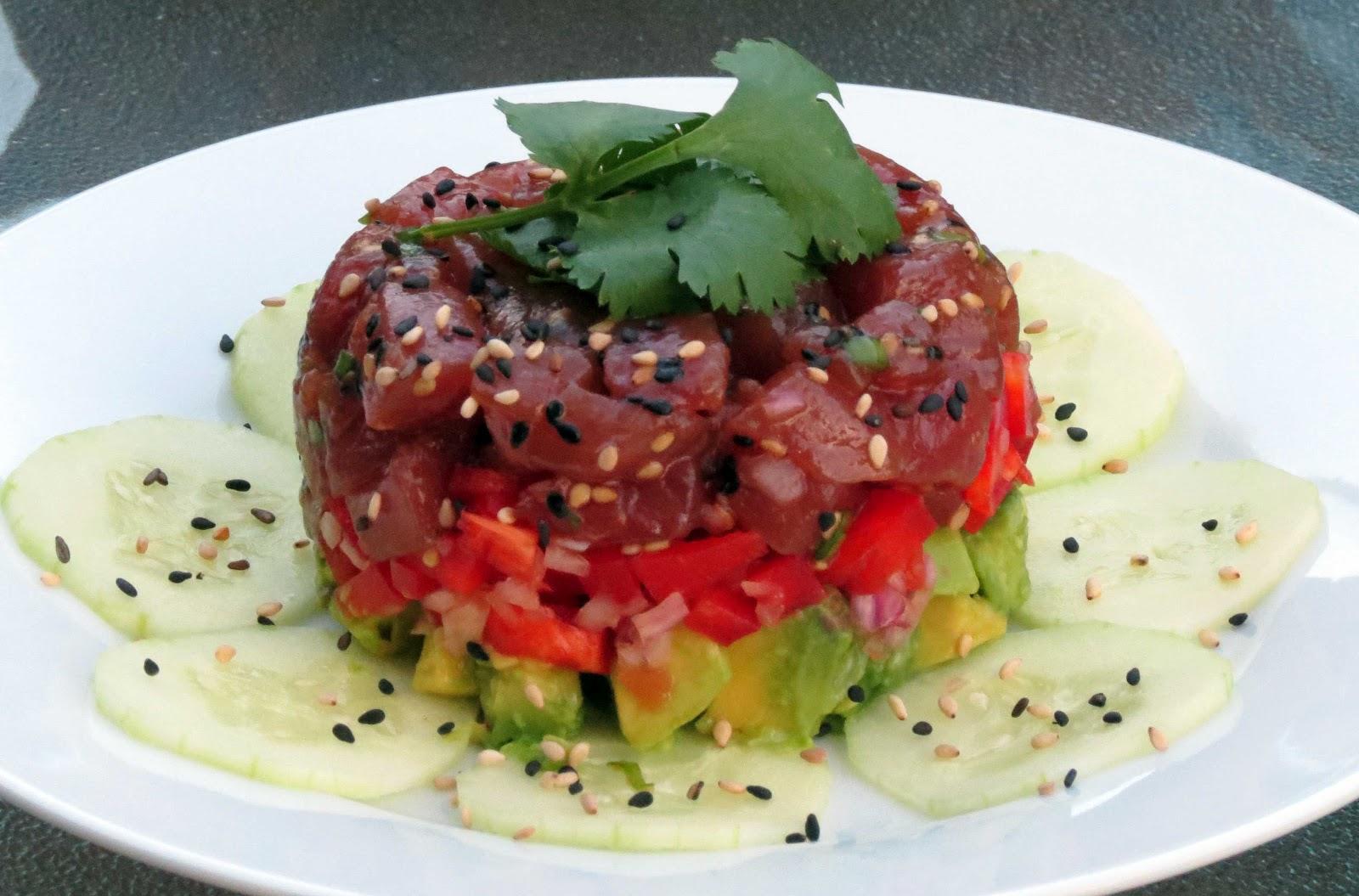 Tuna Poke and Avocado Stack