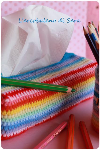 crochet portapenne multicolor