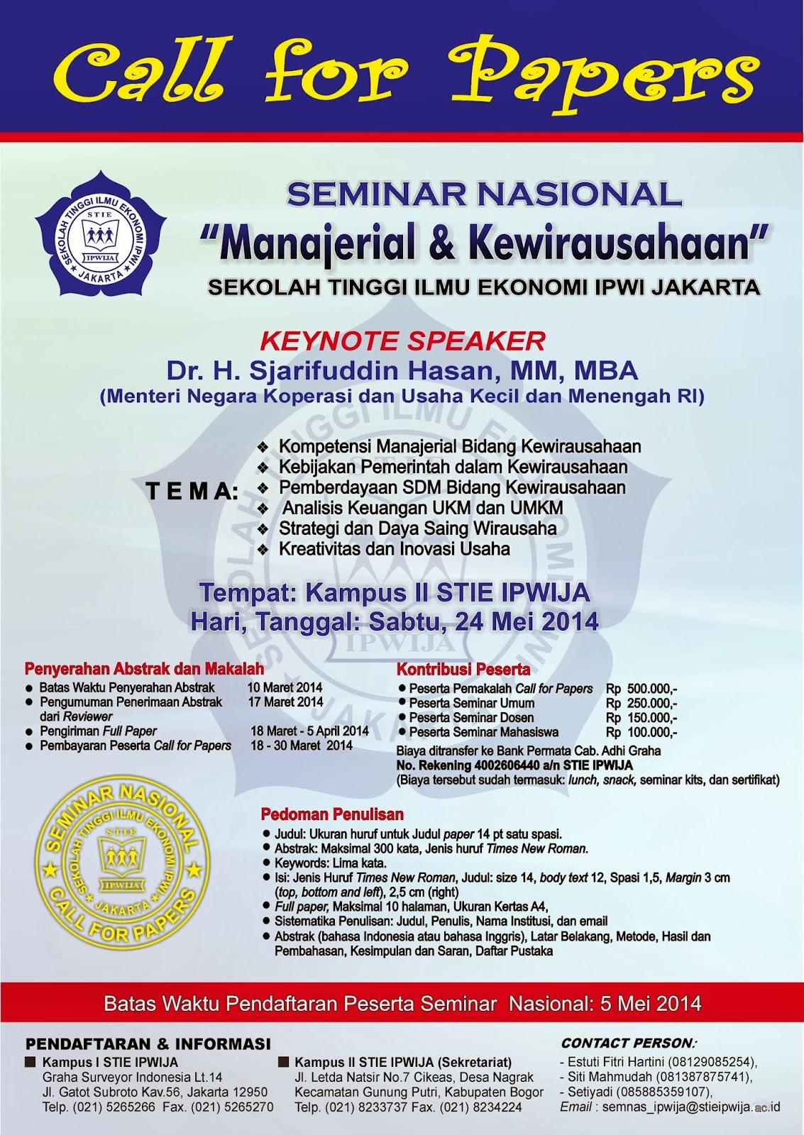 Stie Ipwija Seminar Nasional Quot Manajerial Amp Kewirausahaan Quot